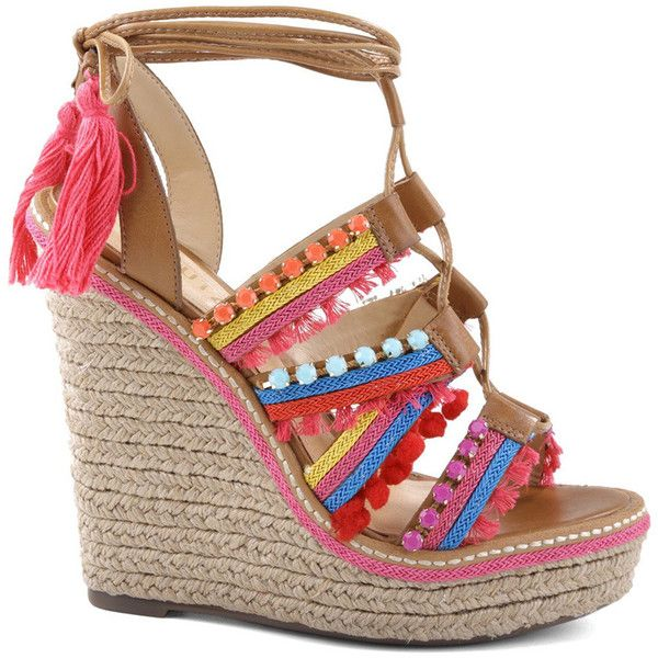 ce99cafb79a SCHUTZ Mella Embellished Wedge ( 220) ❤ liked on Polyvore featuring shoes
