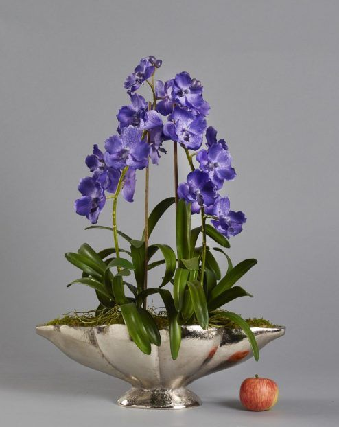 Purple Orchids In Silver Vase Artificial Orchids Pinterest