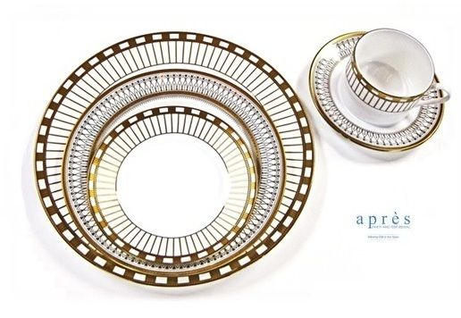 """Galina Fine White China with Gold Border $0.70/piece (rental), Dinner Plate 10.5"""", Salad Plate 8"""", Bread & Butter 6"""", Coffee Cup, Saucer"""