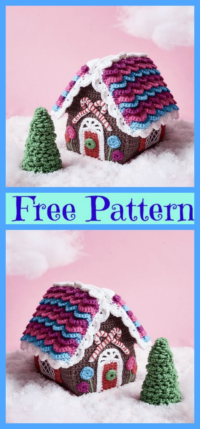 Photo of Crochet Candy Cottage Gingerbread Houses – Free Pattern