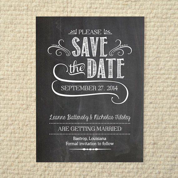 Wedding save the date handlettered chalkboard love diy printable pdf template instant for Save the date template free download