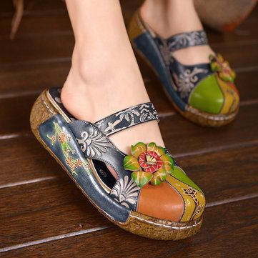SOCOFY Retro Bohemian Women Pumps Flowers Pattern Hollow