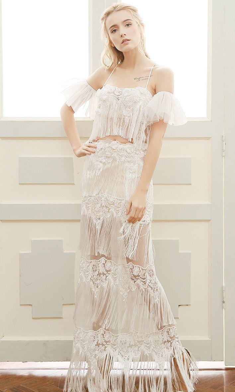 Unique boho wedding dress sheath halter floorlength lace with