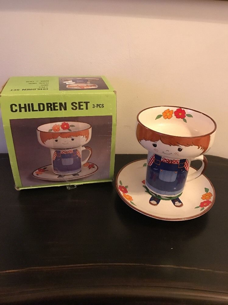 Interpur 3 Piece Stackable Children S Dish Set Boy Mug Plate Bowl Overalls W Box Interpur Childrens Dishes Dish Sets Mugs