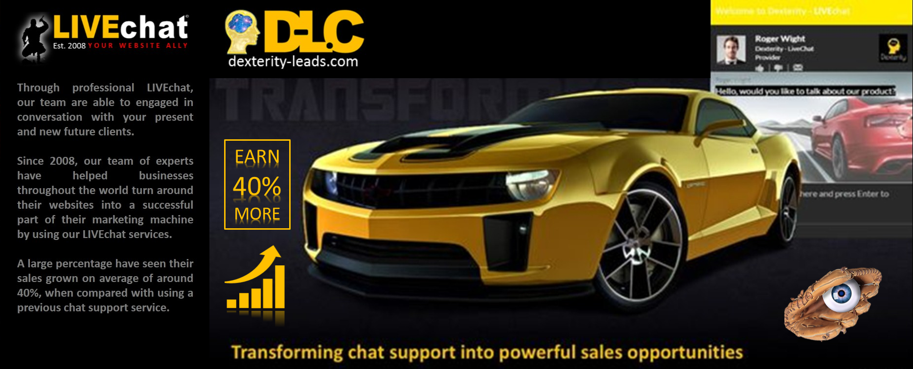 Dlc livechat support will eye catch and transform more