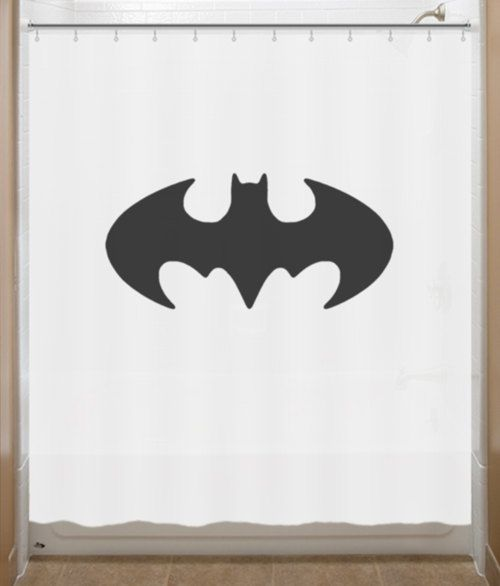 Batman Shower Curtain Batman Retro Original Bat Logo Sign bathroom ...