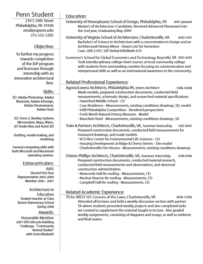 Career Services At The University Of Pennsylvania Architect Resume Sample Resume Examples Internship Resume