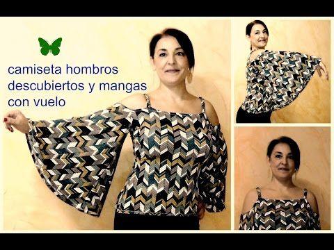 9fedb3f10 DIY CAMISETA DE HOMBRO DESCUBIERTO Y MANGA CON VUELO - YouTube ...
