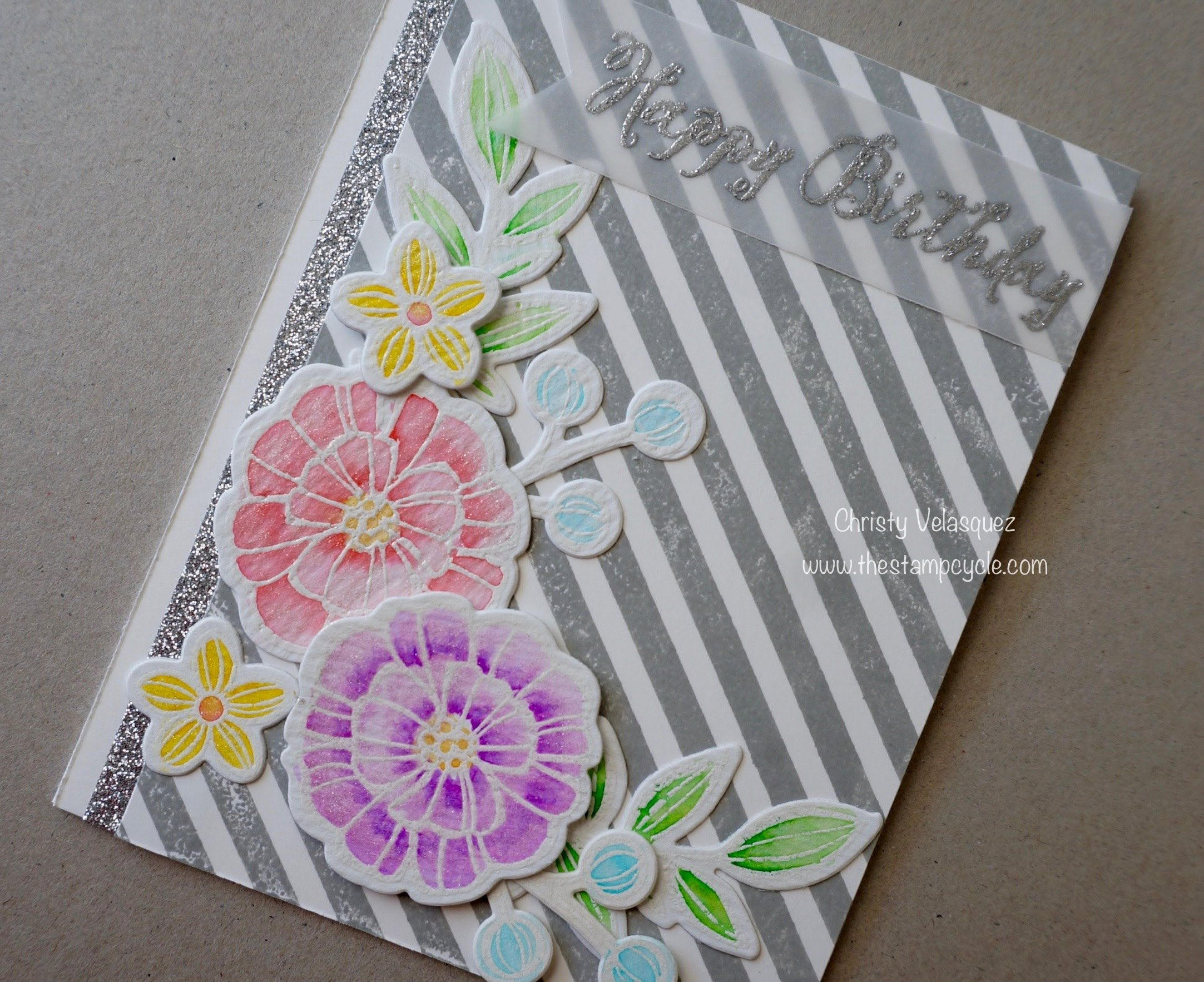 Watercolor Birthday Cards Tutorial ~ Stampin up falling flowers watercolor card using zig clean clear