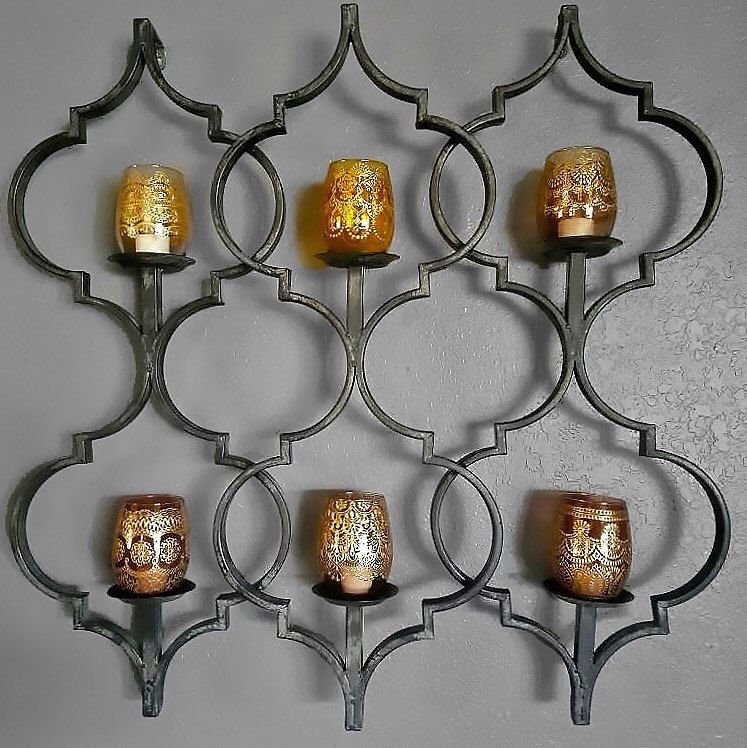A wonderful customer shared her photos with her amber glass candle holders installed in her own super cute Moroccan candle sconce!