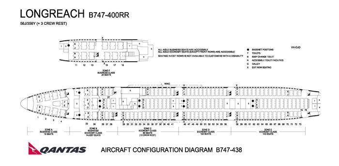 QANTAS AIRLINES BOEING 747-400RR AIRCRAFT SEATING CHART Airline
