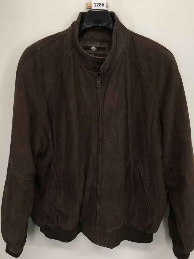 Mens 2xl Xxl Members Only Jacket Genuine Leather Brown Vintage Full