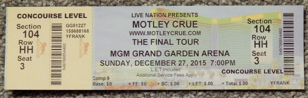 Motley Crue Final Tour Original Concert Used Ticket Mgm Vegas Dec 27 2015 Rare Motley Crue Mgm The Originals