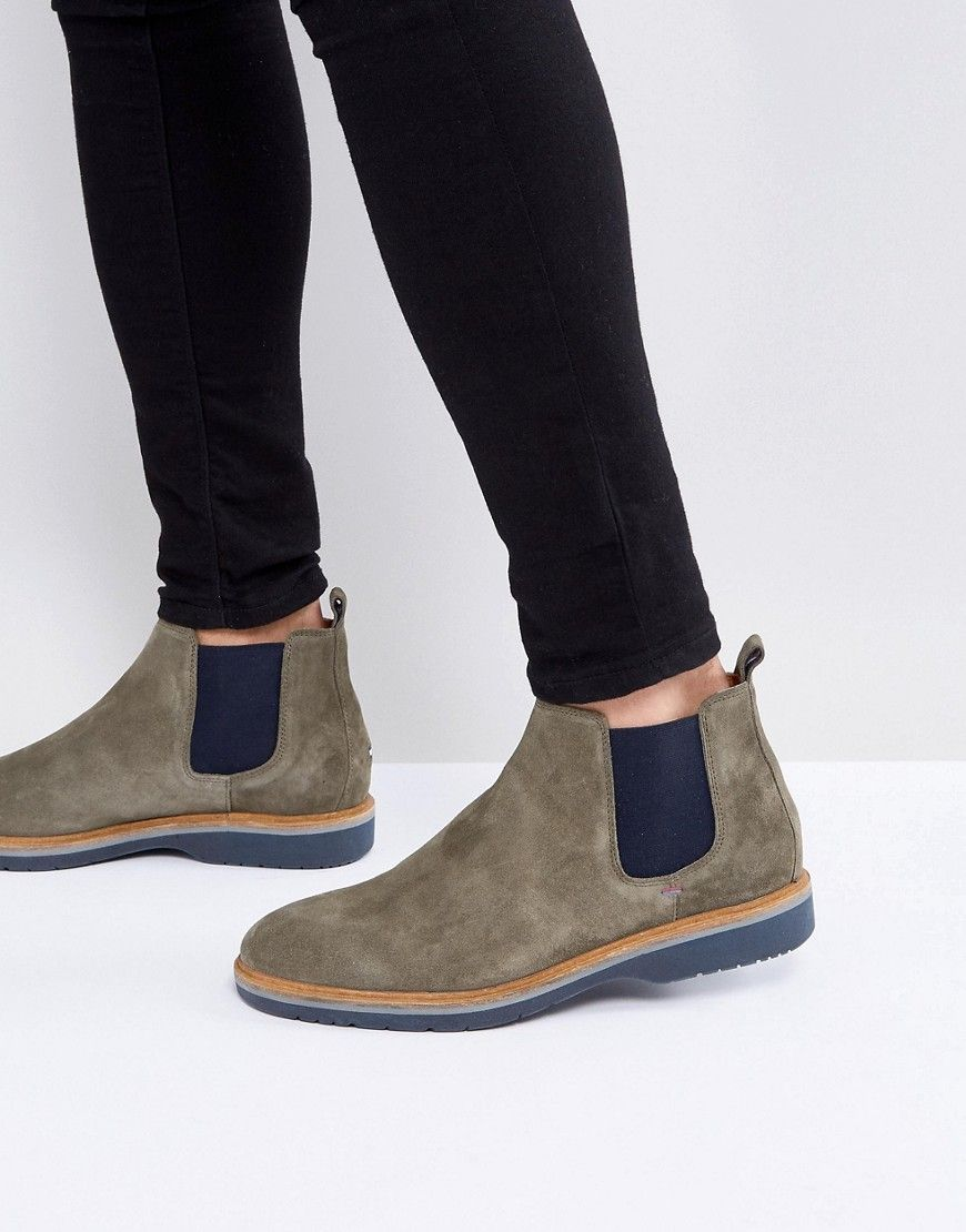 a9bf2a643207af TOMMY HILFIGER JACOB SUEDE CHELSEA BOOTS IN GREEN - GREEN.  tommyhilfiger   shoes