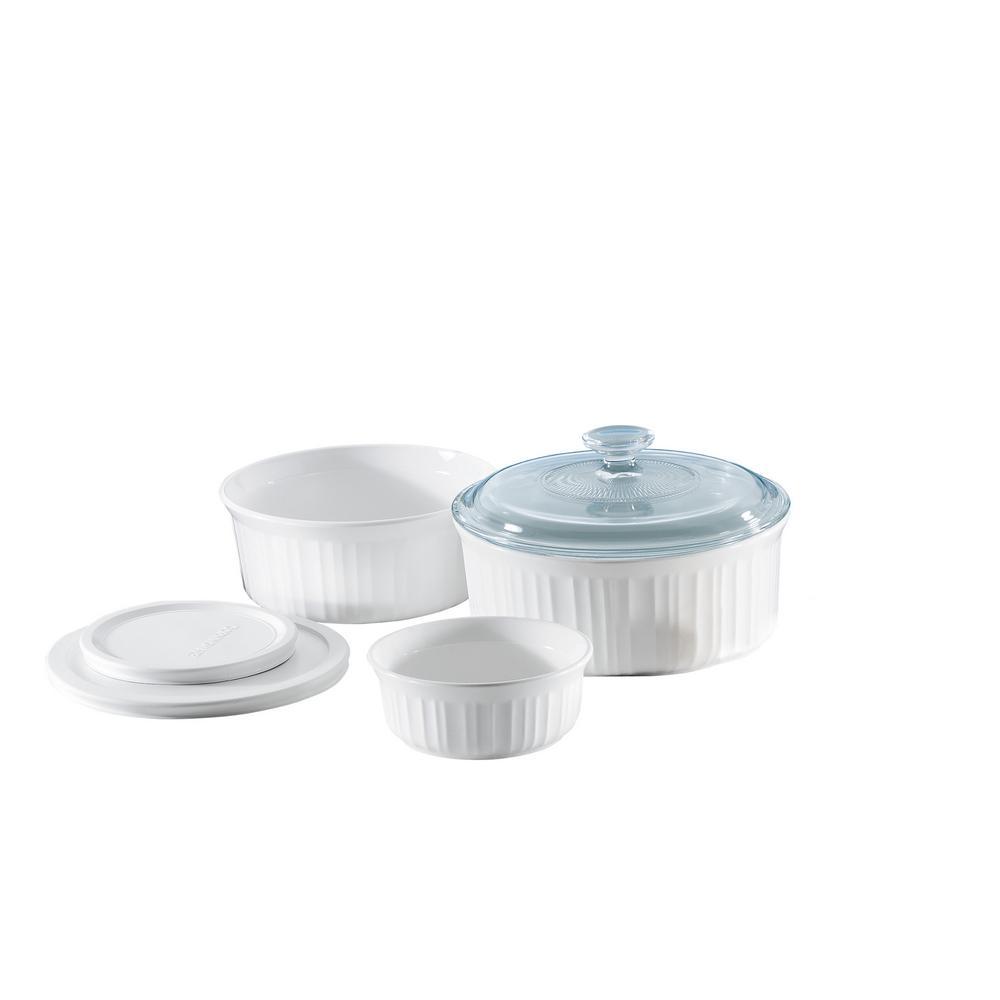 Corningware French White 6 Piece Ceramic Bakeware Set 1074887 In