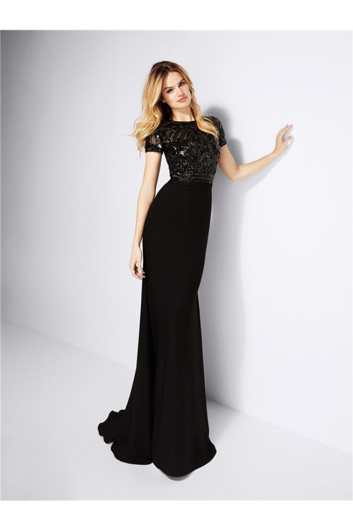 High Neck with Short Sleeves Formal Dresses