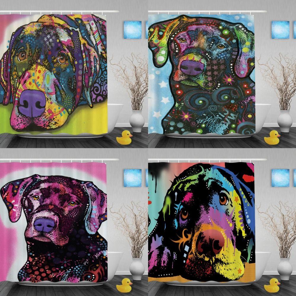 Cute Labrador Shower Curtains Fashion Animal Art Bathroom Shower Curtains  Polyester Fabric Custom Pet Dog Home