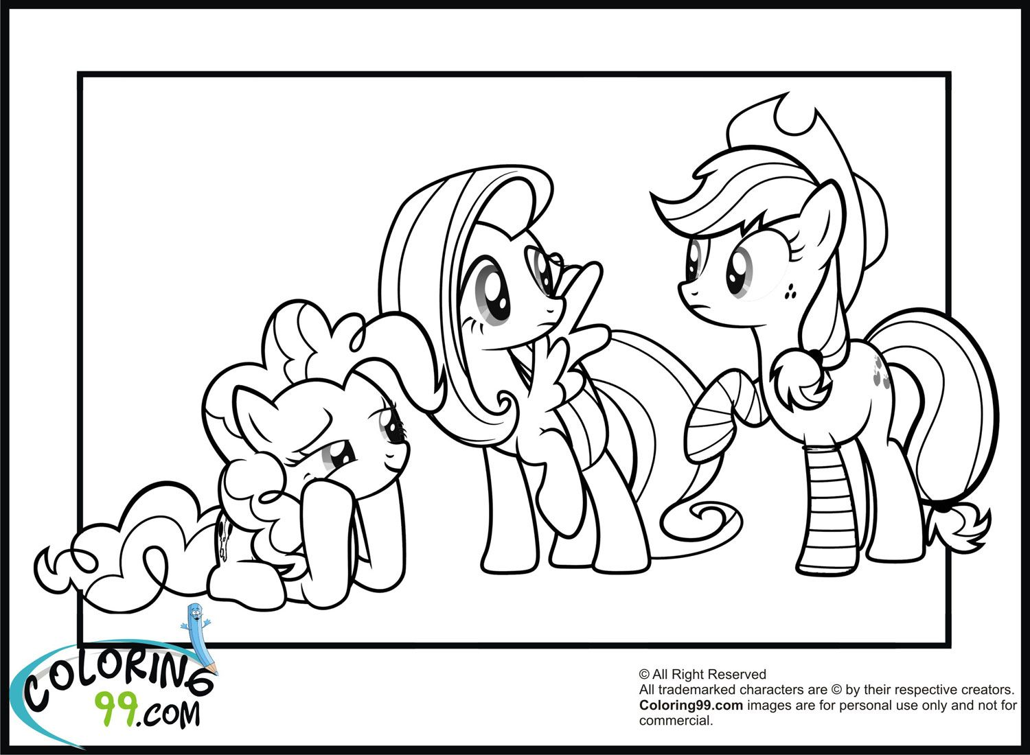 Mlp Pinkie Pie Fluttershy And Apple Jack Coloring Pages
