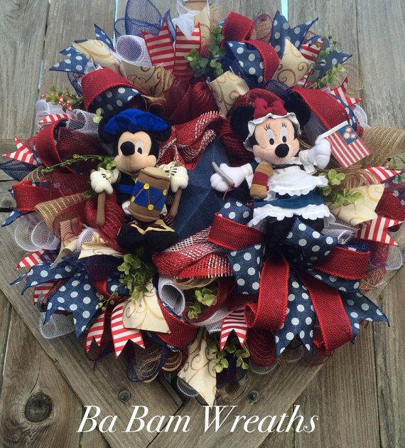 Mickey Mouse 4th Of July, Mickey Mouse Patriotic, Patriotic Wreath