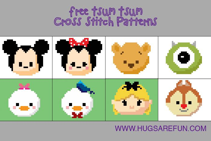 Free Cross Stitch Patterns – Tsum Tsum! Hugsarefun com