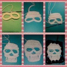 Crochet skull granny square