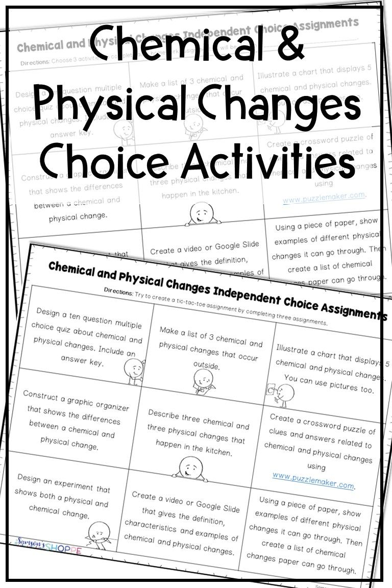 Chemical And Physical Changes Activity Chemical And Physical Changes Physical Changes Activities Physical Vs Chemical Change