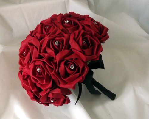 WEDDING FLOWERS - a posy bouquet of red colourfast foam r…