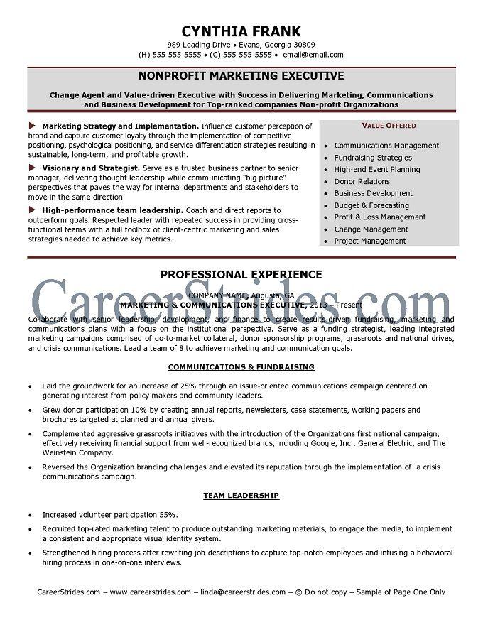 Nonprofit Resume Sample Manager Resume Nonprofit Marketing Resume
