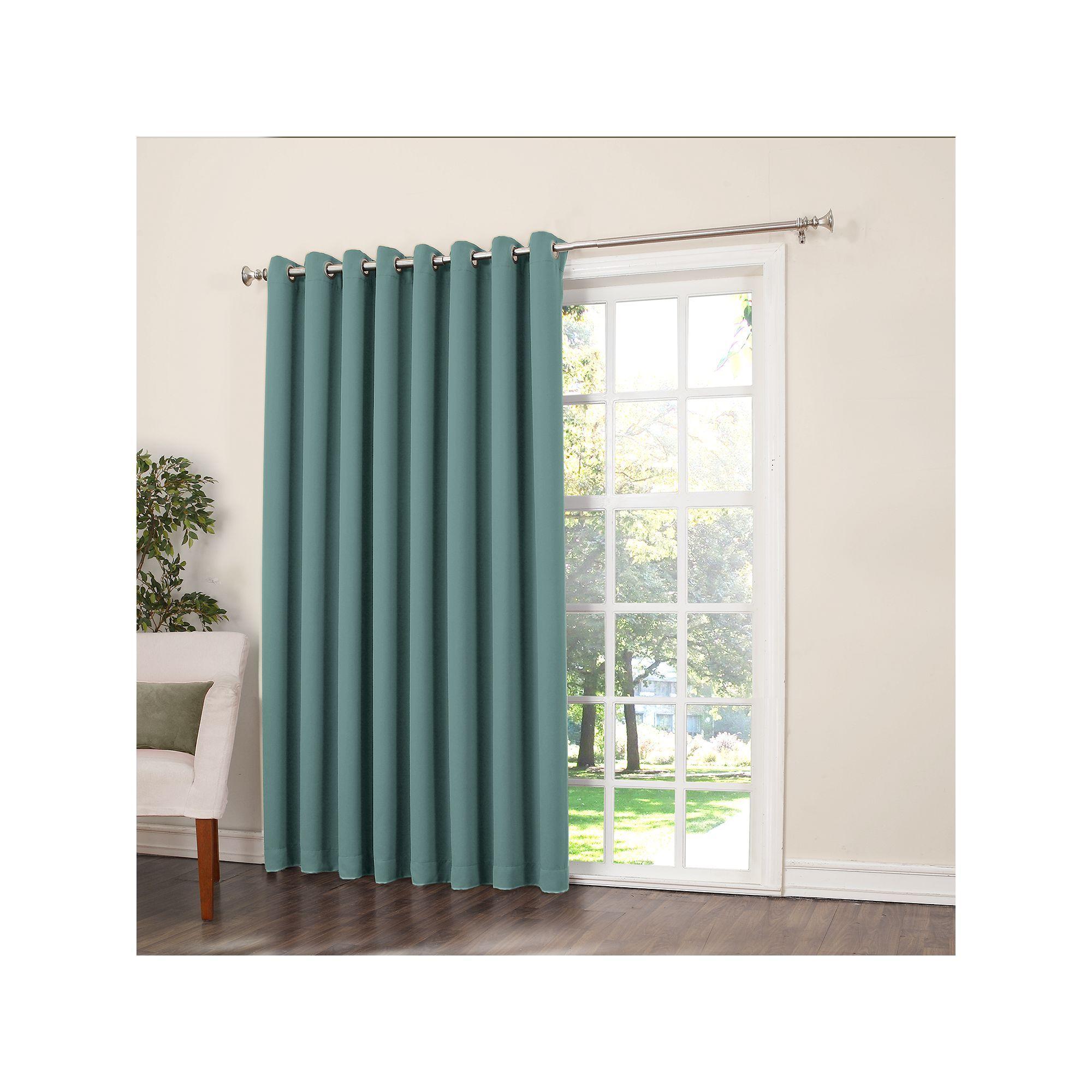 Sun Zero Gramercy Room Darkening Patio Door Window Panel 100 X 84 Blue Patio Door Curtains Patio Doors Patio Curtains
