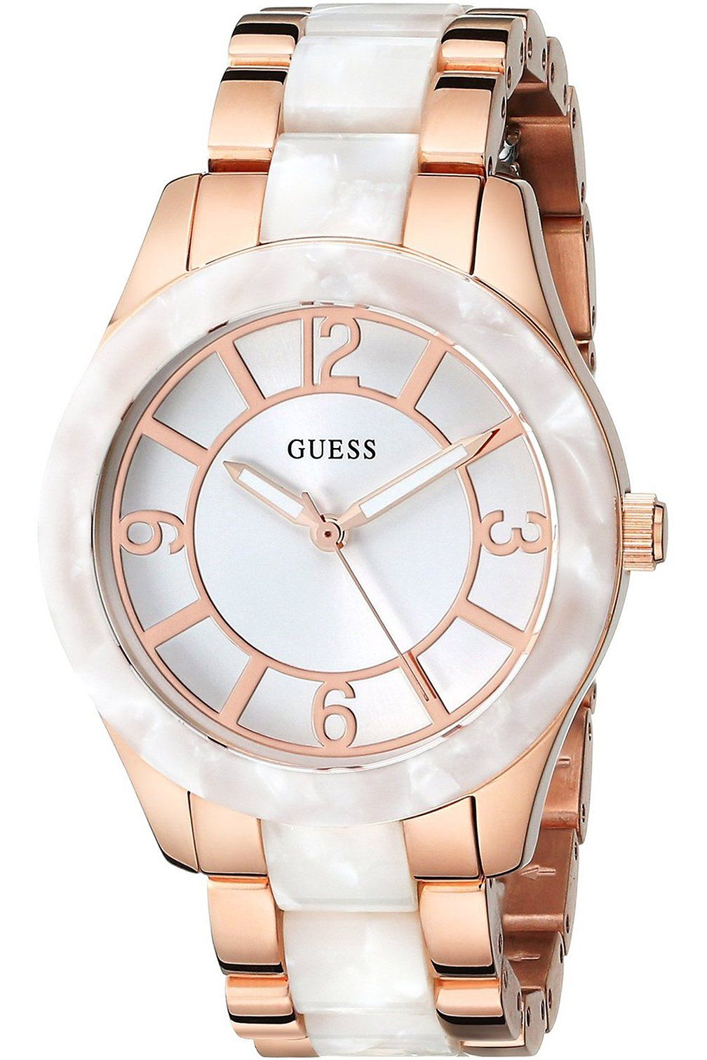 Guess W0074l2 Womens Stainless Steel Rose Gold Tone White Fossil Es3590 Stella Multifunction Watch Marbellized