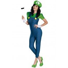 Women's Super Mario Bros. - Deluxe Luigi Female Adult Costume #halloween #super #mario #bros #supermariobrothers #luigi #sexy #rebelcircus