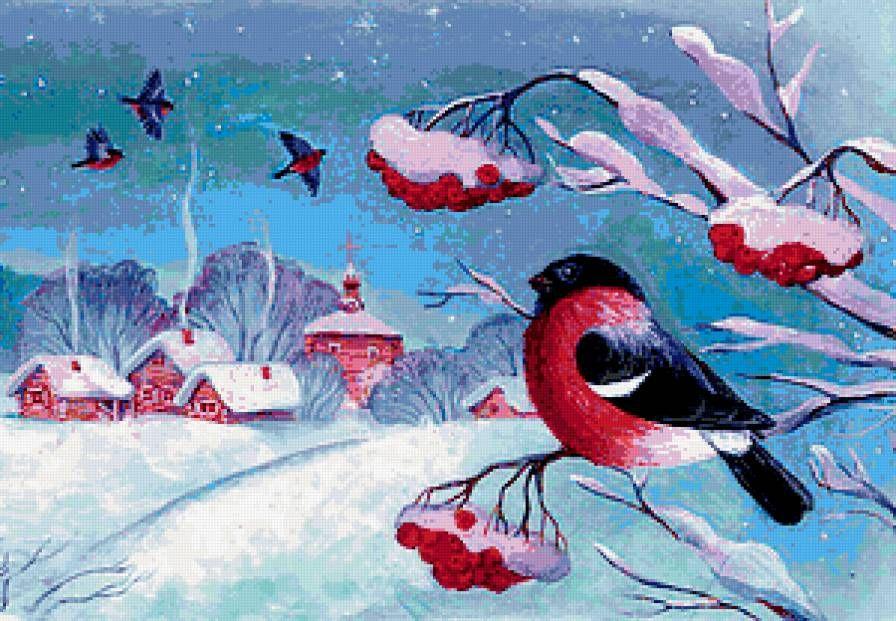 Снегири зимой картинки для детей
