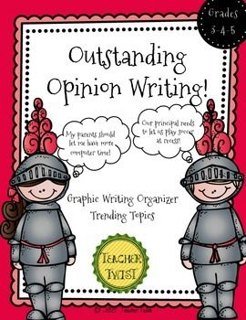 """Free! Opinion writing.... great graphic organizer for writing an opinion essay along with 20 current opinion topics to get your students excited about writing!.... Follow for Free """"too-neat-not-to-keep"""" teaching tools & other fun stuff :)"""