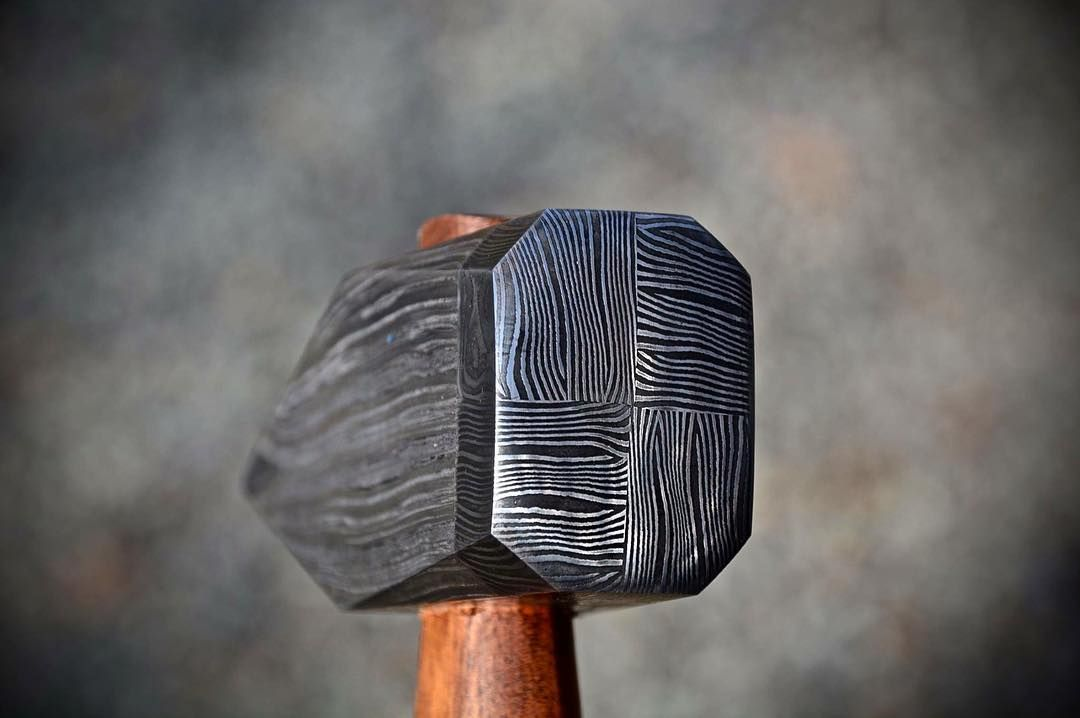 Tile Damascus Hammer Face Which Is Jump Forge Welded Onto A Wrought Iron Body By Hoffmanblacksmithing Blacksmithing Iron Body Wrought Iron
