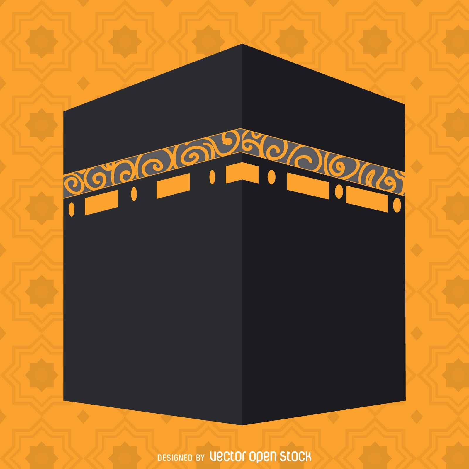 Flat Kaaba Illustration Free Vector Mosque Art Islamic Paintings Easy Canvas Painting