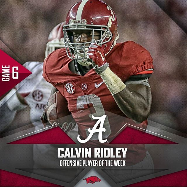 Calvin Ridley Offensive Player Of The Week Arkvsbama Rolltide Crimson Tide Football Alabama Football Team Alabama Crimson Tide
