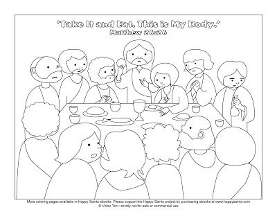 Happy Saints Free Coloring Page Of The Last Supper
