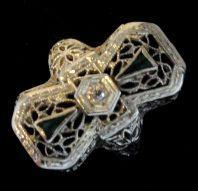 Estate 14K White Gold Filigree Diamond & Emerald Ring