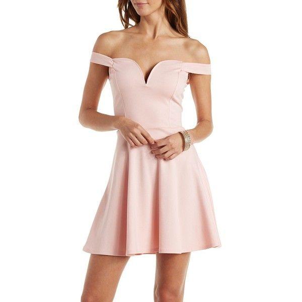 Light Pink Strapless Skater Dresses