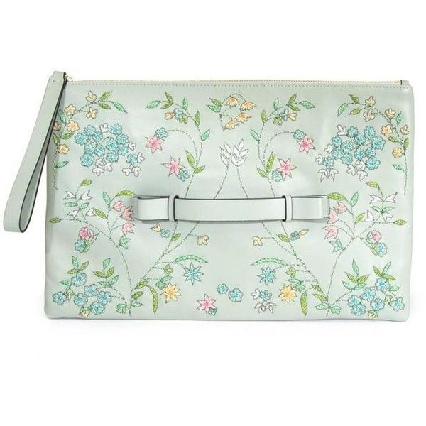 Preowned Red Valentino Pastel Green Floral Embellished Leather Clutch (527.750 CLP) ❤ liked on Polyvore featuring bags, handbags, clutches, red, green leather handbag, red handbags, leather handbags, leather flower purse and floral purse