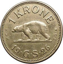 1926 GREENLAND a FREE COLONY of DENMARK 1 Krone Coin with POLAR BEAR i55218