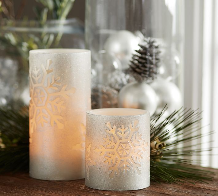 Pottery Barn Flameless Candles Glamorous Flameless Snowflake Pillars From Pottery Barn  Candles