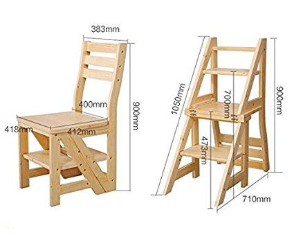 Smartlife Wooden Folding Library Ladder Chair Co Uk Kitchen Home