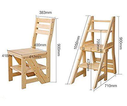 Smartlife Wooden Folding Library Ladder Chair Amazon Co Uk Kitchen Amp Ho Projetos De Carpintaria Simples Planos De Madeira Projetos Com Paletes De Madeira