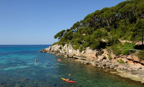 Kayaking in Menorca.