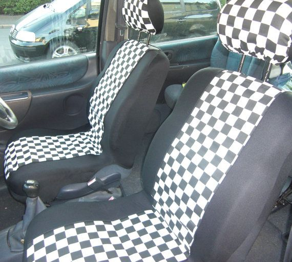 SKA Style Car Front Seat Covers Print Black And White Chess Board In
