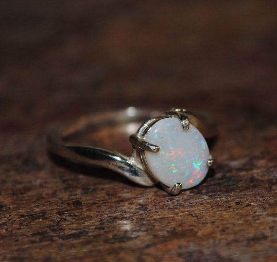 Natural Solid .57ct Light Australian Opal Ring in Sterling Silver