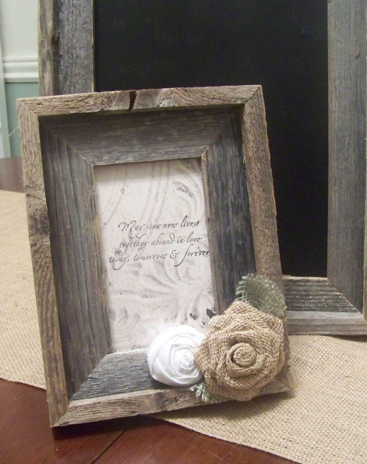 Barn Wood Rustic Picture Frame with Burlap Rose - I totally just ...