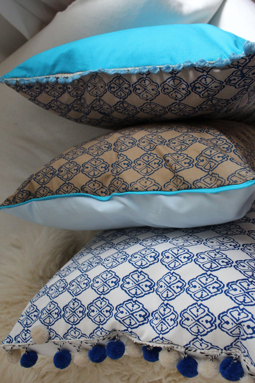 Kissen Kissenhülle Kissenbezug Sofakissen 50x50 Taupe Blau Hellblau