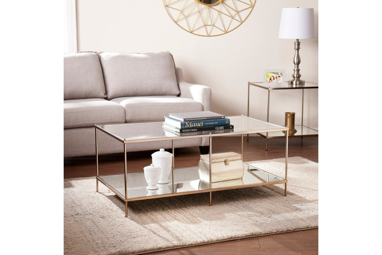 Gold Finished Glass Coffee Table Ashley Furniture Homestore Coffee Table Glass Coffee Table Ashley Furniture Homestore